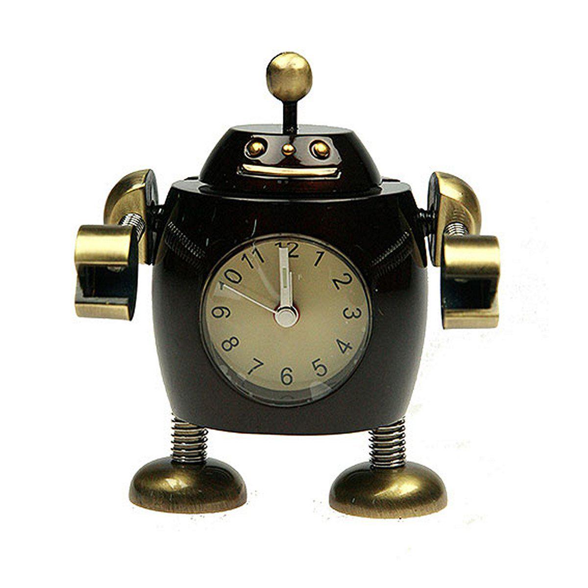 Часы настольные Русские Подарки Робот. 2243322433Настольные кварцевые часы Русские Подарки Робот изготовлены из металла. Изделие оригинально оформлено в виде робота. Часы имеют три стрелки - часовую, минутную и секундную. Такие часы украсят интерьер дома или рабочий стол в офисе. Также часы могут стать уникальным, полезным подарком для родственников, коллег, знакомых и близких. Часы работают от батареек типа SR626 (в комплект не входят).