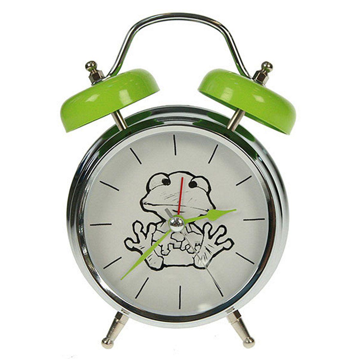 Часы настольные Русские Подарки Лягушка, с функцией будильника, 12 х 6 х 17 см. 232414232414