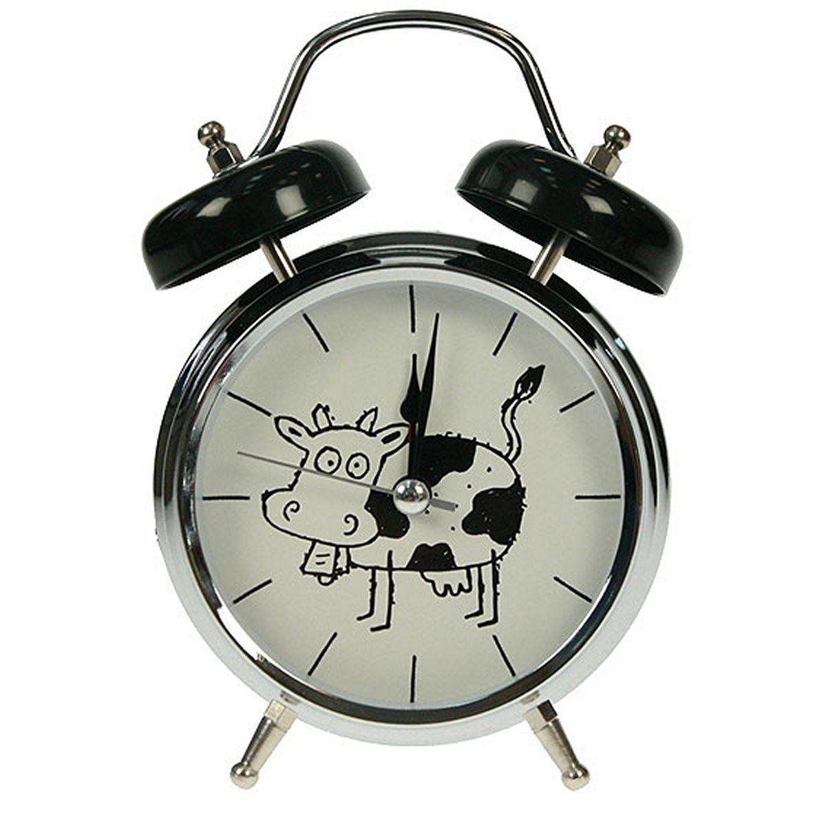 Часы настольные Русские Подарки Корова, с функцией будильника, 12 х 6 х 17 см. 232416232416Настольные кварцевые часы Русские Подарки Корова изготовлены из металла, циферблат защищен стеклом. Оригинальное оформление в виде смешной коровы поднимет настроение, а благодаря функции будильника вы проснетесь вовремя. Часы имеют три стрелки - часовую, минутную и секундную. Такие часы украсят интерьер дома или рабочий стол в офисе. Также часы могут стать уникальным, полезным подарком для родственников, коллег, знакомых и близких. Часы работают от батареек типа АА (в комплект не входят).