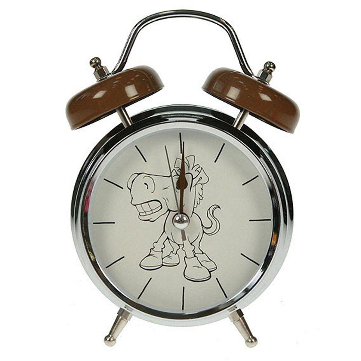 Часы настольные Русские Подарки Лошадь, с функцией будильника, 12 х 6 х 17 см. 232417232417