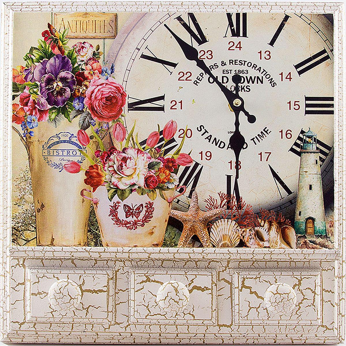 Часы настенные Русские Подарки, 32 х 8 х 32 см. 2961629616Настенные кварцевые часы Русские Подарки изготовлены из МДФ. Корпус оформлен изображением цветов, ракушек и маяка. Часы имеют две стрелки - часовую и минутную. С обратной стороны имеется петелька для подвешивания на стену. Изящные часы красиво и оригинально оформят интерьер дома или офиса. Также часы могут стать уникальным, полезным подарком для родственников, коллег, знакомых и близких. Часы работают от батареек типа АА (в комплект не входят).
