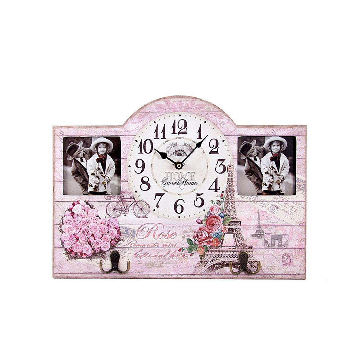 Часы настенные Русские Подарки Париж, 45 х 5 х 32 см. 2963229632Настенные кварцевые часы Русские Подарки Париж изготовлены из МДФ. Корпус оформлен изображением цветов и Эйфелевой башни, а также украшен вставками с изображением детей. Корпус часов имеет два металлических крючка, на которые можно повесить ключи или прочие мелочи. Часы имеют две стрелки - часовую и минутную. С обратной стороны имеется петелька для подвешивания на стену. Изящные часы красиво и оригинально оформят интерьер дома или офиса. Также часы могут стать уникальным, полезным подарком для родственников, коллег, знакомых и близких. Часы работают от батареек типа АА (в комплект не входят).