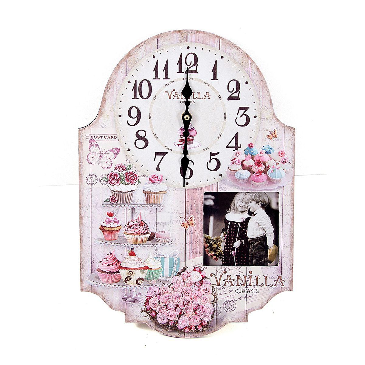 Часы настенные Русские Подарки, 29 х 5 х 42 см. 2963629636Настенные кварцевые часы Русские Подарки изготовлены из МДФ. Корпус оформлен изображением цветов и пирожных, а также украшен вставкой с изображением детей. Часы имеют две стрелки - часовую и минутную. С обратной стороны имеется петелька для подвешивания на стену. Изящные часы красиво и оригинально оформят интерьер дома или офиса. Часы работают от батареек типа АА (в комплект не входят).