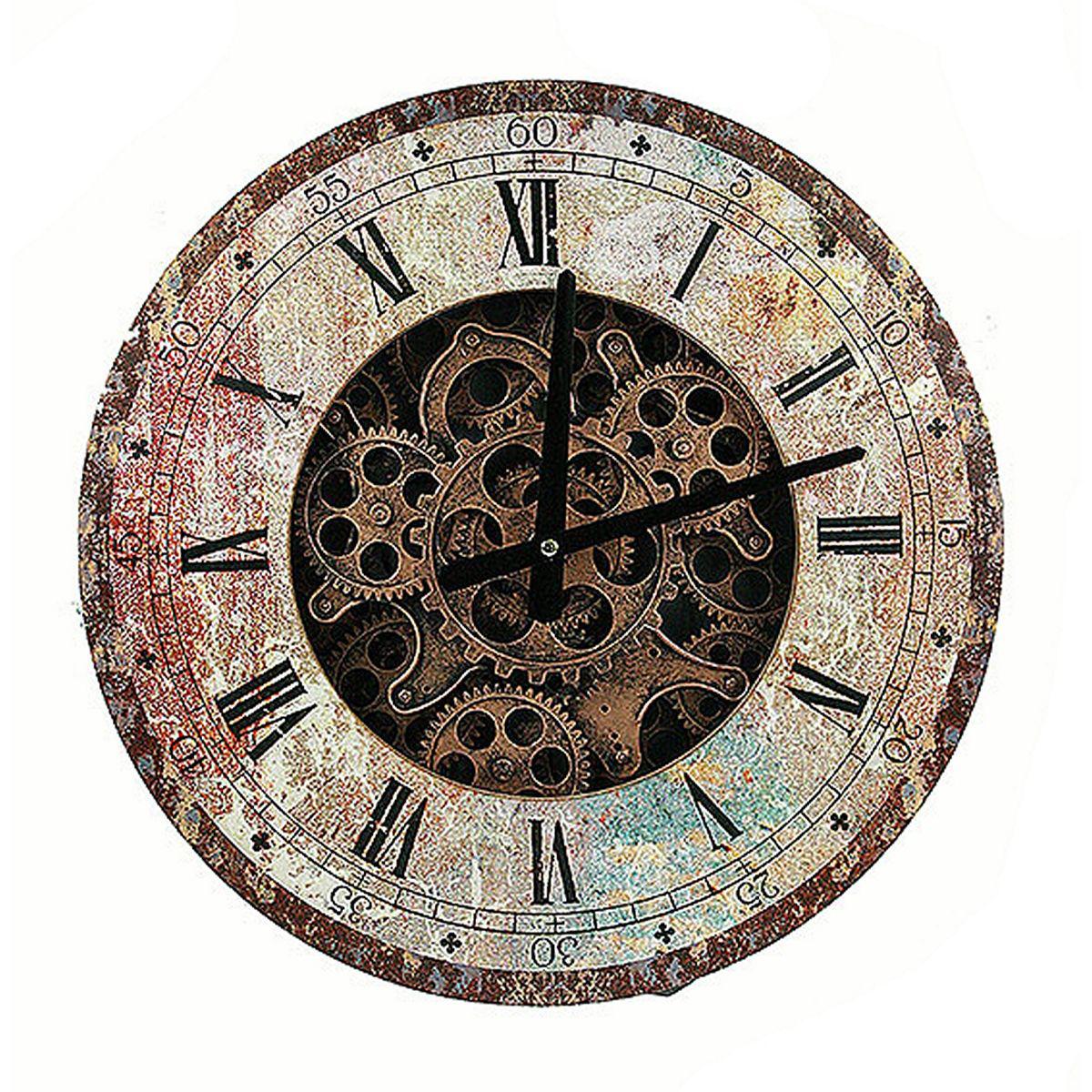 Часы настенные Русские Подарки, 40 х 40 х 7 см. 3478734787Настенные кварцевые часы Русские Подарки изготовлены из МДФ. Корпус оформлен изображением больших и маленьких шестеренок часового механизма. Часы имеют две стрелки - часовую и минутную. С обратной стороны имеется петелька для подвешивания на стену. Изящные часы красиво и оригинально оформят интерьер дома или офиса. Также часы могут стать уникальным, полезным подарком для родственников, коллег, знакомых и близких. Часы работают от батареек типа АА (в комплект не входят).