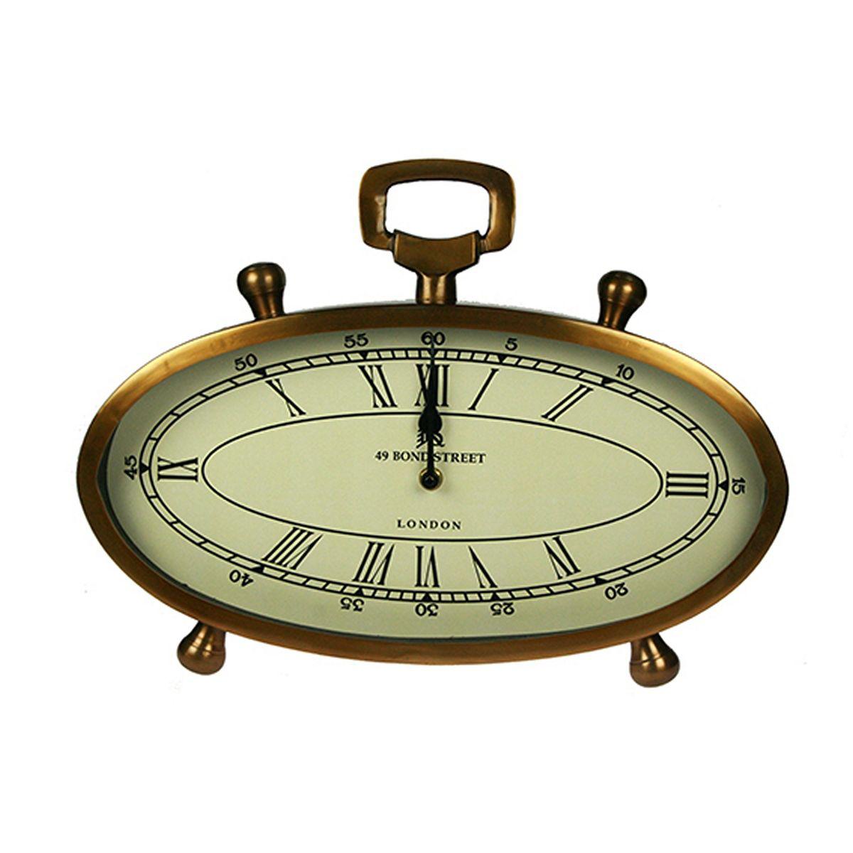 Часы настольные Русские Подарки, 40 х 8 х 30 см. 3583635836Настольные кварцевые часы Русские Подарки изготовлены из металла, циферблат защищен стеклом. Часы имеют две стрелки - часовую и минутную. Такие часы красиво и необычно оформят интерьер дома или рабочий стол в офисе. Также часы могут стать уникальным, полезным подарком для родственников, коллег, знакомых и близких.