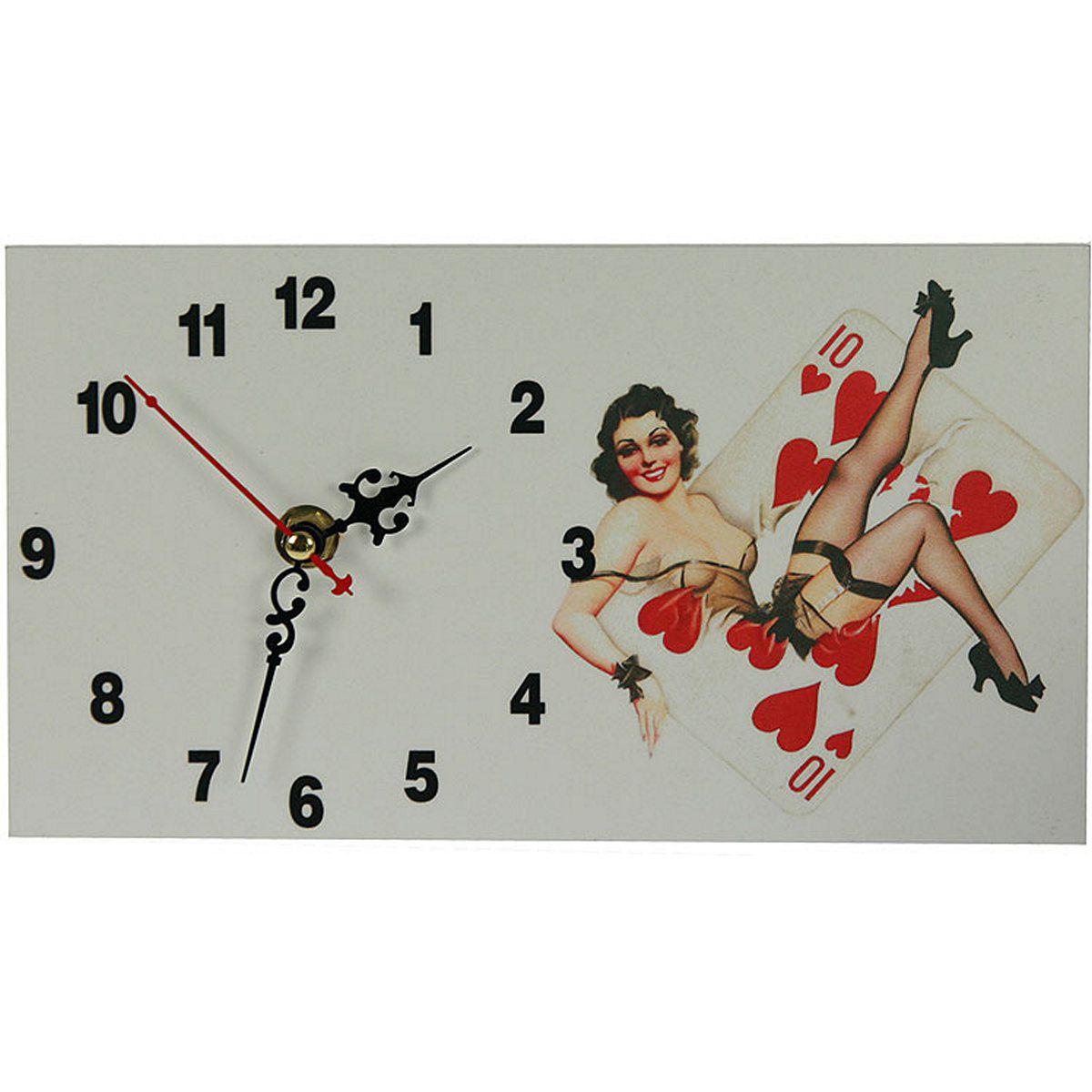 Часы настольные Русские Подарки Пин-ап, 13 х 23 см. 3823238232Настольные кварцевые часы Русские Подарки Пин-ап изготовлены из МДФ. Изделие оригинально оформлено изображением девушки в стиле Пин-ап. Часы имеют три стрелки - часовую, минутную и секундную. Такие часы украсят интерьер дома или рабочий стол в офисе. Также часы могут стать уникальным, полезным подарком для родственников, коллег, знакомых и близких. Часы работают от батареек типа АА (в комплект не входят).