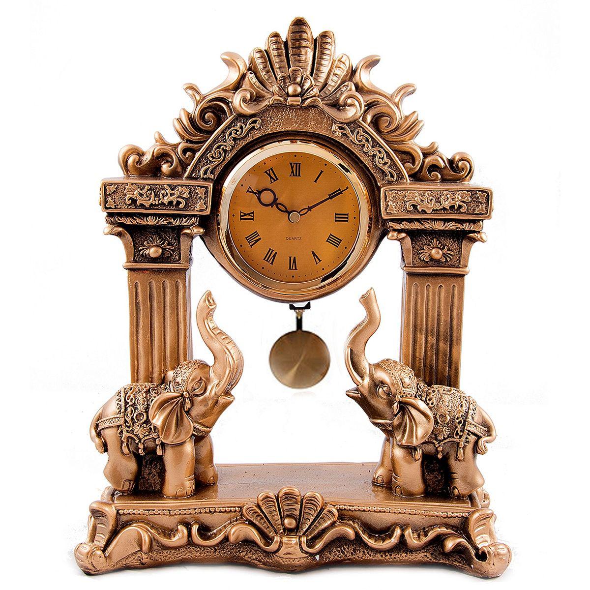 Часы настольные Русские Подарки Слоны, 30 х 13 х 37 см. 5933359333