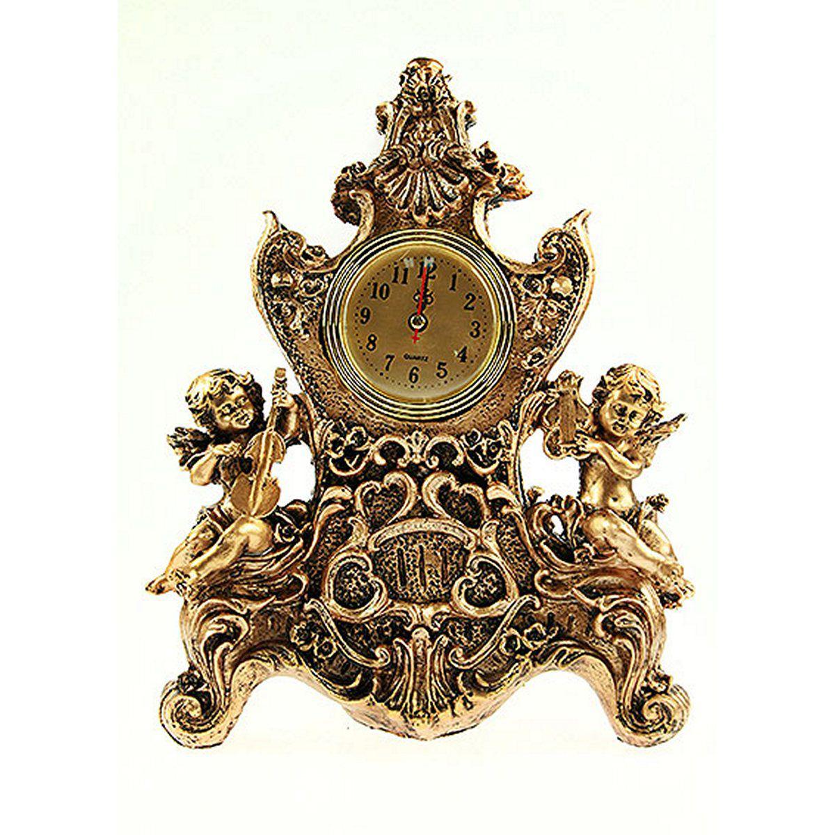 Часы настольные Русские Подарки Ангелочки, 22 х 10 х 31 см. 5936959369Настольные кварцевые часы Русские Подарки Ангелочки изготовлены из полистоуна, циферблат защищен стеклом. Часы имеют три стрелки - часовую, минутную и секундную. Изящные часы красиво и оригинально оформят интерьер дома или рабочий стол в офисе. Также часы могут стать уникальным, полезным подарком для родственников, коллег, знакомых и близких. Часы работают от батареек типа АА (в комплект не входят).