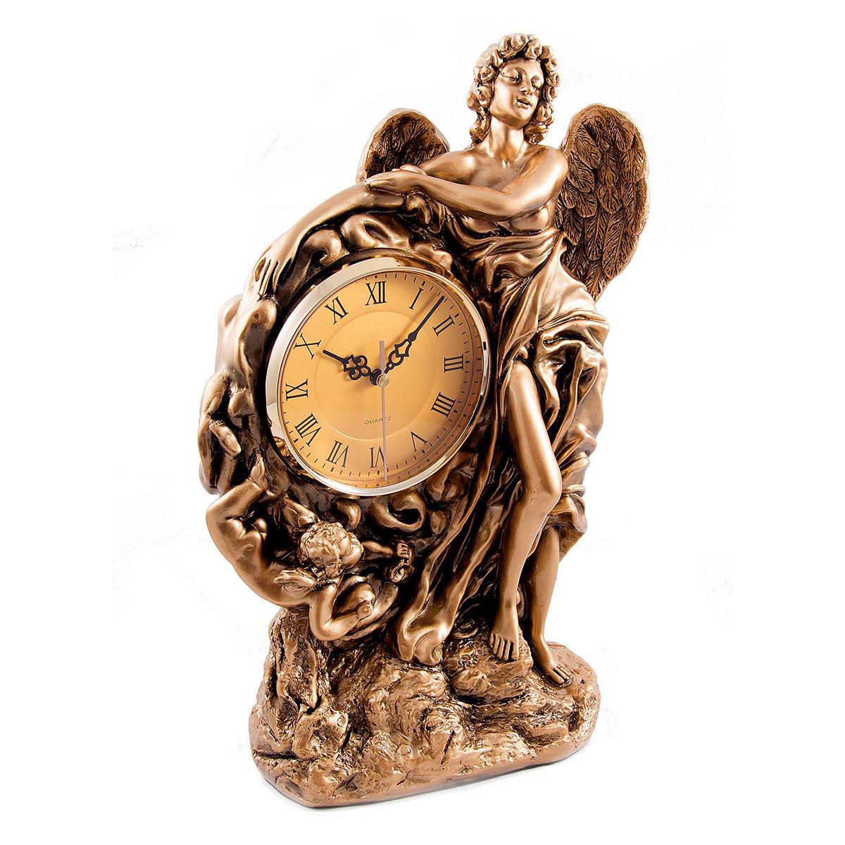 Часы настольные Русские Подарки Ангел, 32 х 16 х 48 см. 5937159371Настольные кварцевые часы Русские Подарки Ангел изготовлены из полистоуна, циферблат защищен стеклом. Часы имеют три стрелки - часовую, минутную и секундную. Изящные часы красиво и оригинально оформят интерьер дома или рабочий стол в офисе. Также часы могут стать уникальным, полезным подарком для родственников, коллег, знакомых и близких. Часы работают от батареек типа АА (в комплект не входят).