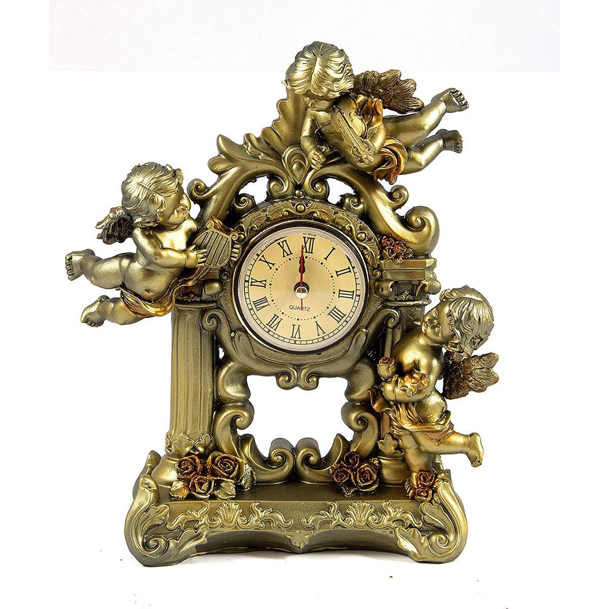 Часы настольные Русские Подарки Ангелы, 16 х 23 см. 5942259422Настольные кварцевые часы Русские Подарки Ангелы изготовлены из полистоуна, циферблат защищен стеклом. Часы имеют три стрелки - часовую, минутную и секундную. Изящные часы красиво и оригинально оформят интерьер дома или рабочий стол в офисе. Также часы могут стать уникальным, полезным подарком для родственников, коллег, знакомых и близких. Часы работают от батареек типа АА (в комплект не входят).