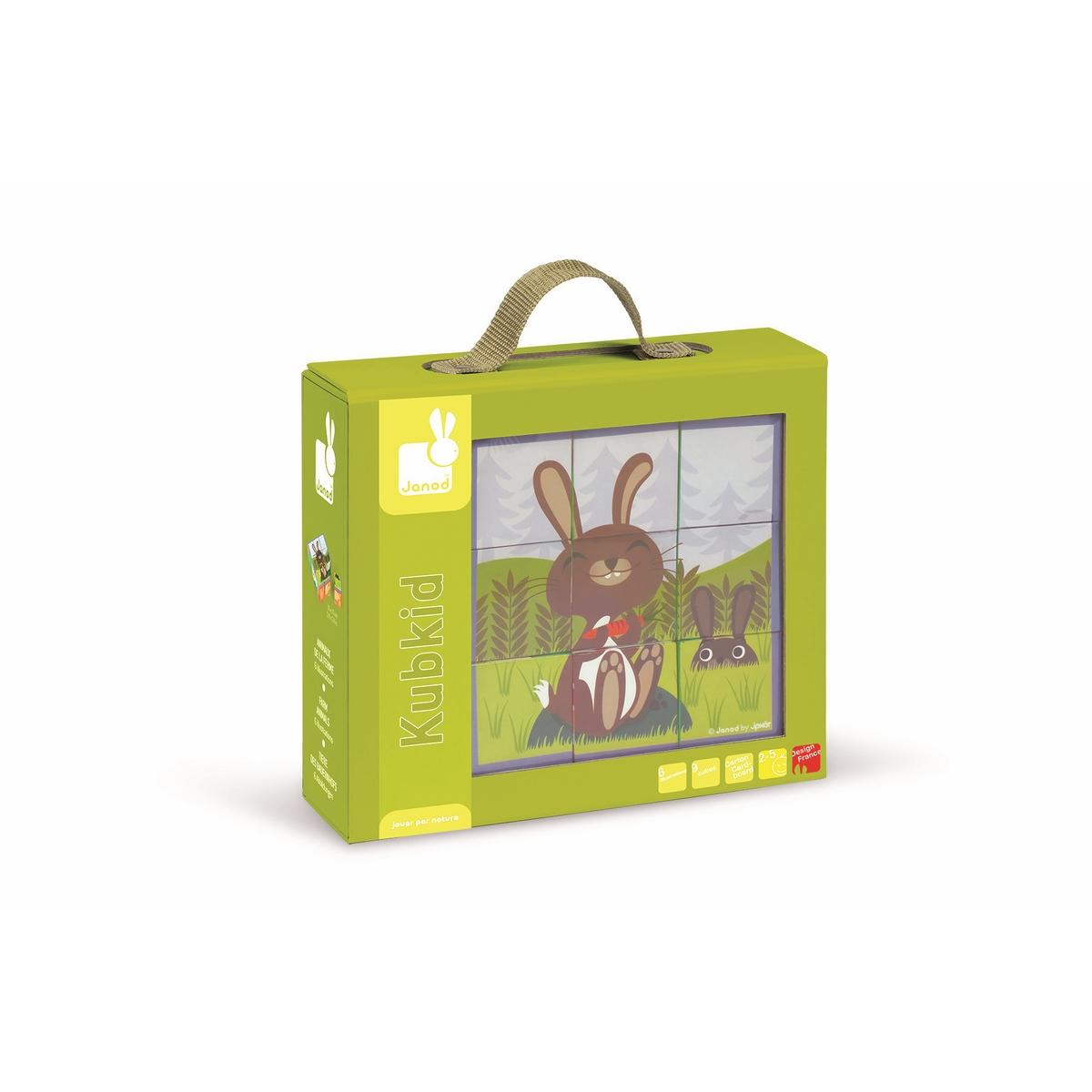 Janod Кубики Животные фермыJ02989Самые натуральные и безопасные игрушки для малышей и детей постарше премиум-класса. Все игрушки и игровые наборы сделаны из натуральной древесины или картона. Безопасные для контакта с ребенком краски на водной основе. Игрушки выставляют на международных выставках под маркой green toys (зеленые игрушки, т.е. экологически безопасные). Изысканный французский дизайн. Превосходное качество - необыкновенно гладкая и приятная поверхность. Нежное и красивое сочетание цветов. Эксклюзивная подарочная упаковка. Совстав: 9 кубиков, размер 1 кубика 5 x 5 x 5см. На каждой из 6 сторон кубика нанесен свой рисунок. Собрав все 9 элементов правильно, ребенок познакомится с животными фермы: коровой, заичиком, свинкой, барашком, курочкой. Безопасные для контакта с ребенком краски на водной основе.