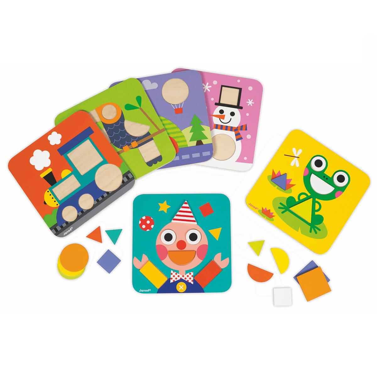 Janod Сортер Фигуры и цветаJ08028Сортер Janod Фигуры и цвета станет вашим лучшим помощником в обучении ребенка простым геометрическим фигурам! Благодаря 29 разноцветным фигуркам и 6 двусторонним карточкам, воплощение фантазии вашего малыша станет почти безграничным! Собирайте вместе с ним разнообразные картинки: диковинные животные, паровозики или потрясающий подводный мир? Все это теперь доступно вместе с этим замечательным сортером!