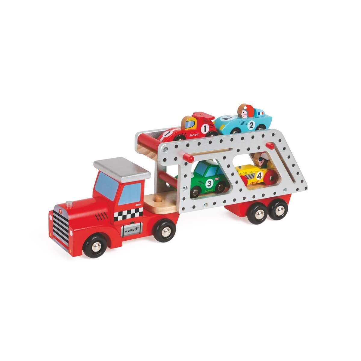 Janod Автовоз с 4 гоночными машинкамиJ08572Красочный автовоз с 4 гоночными машинками станет любимой игрушкой вашего малыша! Двухуровневый автовоз очень легко разбирается, а гоночные машинки порадуют ребенка своим многообразием! Красная машинка - представительница Королевских гонок Formula-1, голубая машинка - раллийная гоночная , зеленая - классическая легковая машинка, желтая - стильный ретро-автомобиль. Материал - дерево.