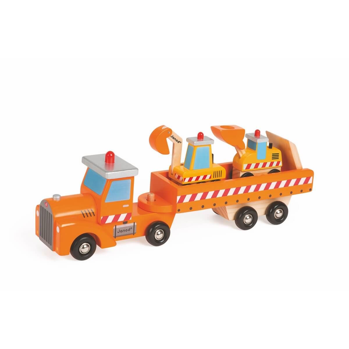 Janod Автовоз и 2 бульдозераJ08575Внимание! Стройка! Автовоз с бетономешалкой и автопогрузчиком Janod позволит ребенку организовать импровизированную стройку. Деревянный автовоз и 2 бульдозера помогу с ознакомлением вашего малыша с различной спецтехникой, а может станут прекрасным дополнением к уже существующей коллекции качественных развивающих деревянных игрушек от французского бренда Janod.