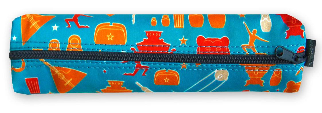 Пенал-тубус ОРЗ-дизайн Russia, цвет: голубой, красный. Орз-0515Орз-0515Пенал -тубус текстильный с принтом, на молнии