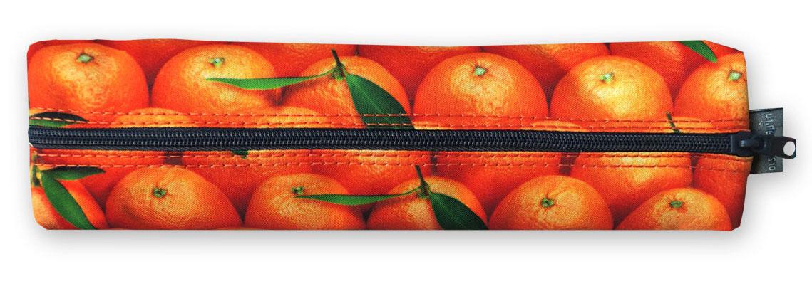 Пенал-тубус ОРЗ-дизайн Мандарины, цвет: оранжевый , зеленый. Орз-0392Орз-0392Пенал -тубус текстильный с принтом, на молнии