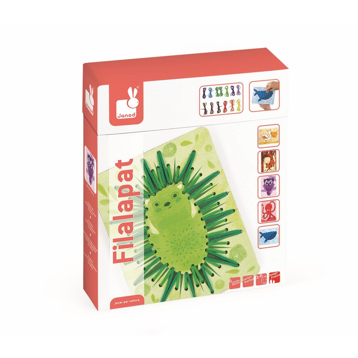 Janod Игра-шнуровка ЖивотныеJ02806Игра-шнуровка Janod Животные развлечёт вашего малыша. Набор включает 6 разноцветных и веселых карточек с изображениями животных, а также 13 цветных шнурков. Все детали игры созданы из качественного картона и текстиля, которые абсолютно безопасны для детей. На каждую карточку нанесена перфорация по контуру рисунка. В процессе игры ваш ребенок должен продеть шнурок через эти отверстия, обозначая силуэт животного.Также вы сможете помочь ребенку освоить основные цвета, виды животных. Продемонстрируйте вашему малышу большие карточки и предложите самостоятельно подобрать цвет шнурка. Такая игра развивает мелкую моторику рук и пальцев, что способствует развитию речи ребенка.