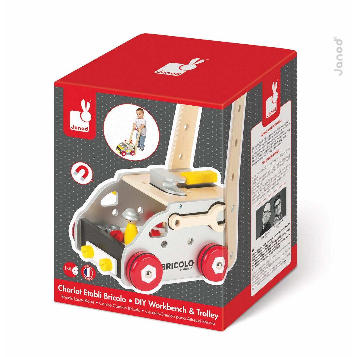 Janod Игрушка-каталка Мастер на все рукиJ06487Деревянная игрушка-каталка Janod Мастер на все руки станет отличным спутником вашего ребенка на прогулке и дома. Каталка оснащена четырьмя деревянными колесиками и удобной ручкой для захвата. Взявшись за компактную ручку, ваш малыш сможет возить игрушку перед собой. В комплекте с каталкой идет фигурка водителя. Ваш малыш уже сделал свои первые шаги, но еще не совсем хорошо ходит, эта игрушка-каталка в виде тележки придаст ему уверенности и поможет развить координацию движений.