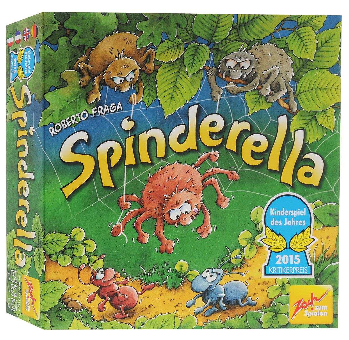Zoch Настольная игра Спиндерелла601105077Братья-пауки Роберт и Клаус в восторге от своей сестренки Спиндереллы - неизменной участницы их совместных проказ. Ведь она так воздушно легка, что братья могут спускать ее вниз на одной тонкой паутинке. Спиндерелла обожает эту игру: подстеречь на лесной тропинке неосторожного муравьишку и, подняв его в воздух, отнести к самому началу. Спиндерелла и ее братья не знают, что именно сегодня проходит большой международный муравьиный марафон. Команды из трех муравьев будут изо всех сил стремиться к финишу - но Роберту, Клаусу и Спиндерелле нет дела до спортивных страстей, они просто хотят поиграть... По очереди участники настольной игры Zoch Спиндерелла бросают три кубика. От выпавшего на зеленом кубике символа, зависит, передвинет игрок одного из своих муравьев-марафонцев, разрешит порезвиться паучьей семейке или переставит в другое место пенек. Белый кубик определяет, сколько ходов смогут сделать братья-пауки, а коричневый - на сколько делений продвинется выбранный игроком...