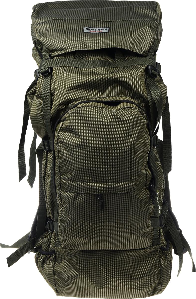 Рюкзак для охоты и рыбалки Nova Tour Медведь 120 V3, цвет: зеленый, черный, 120 л95820-502-00_хакиРегулировка подвесной системы рюкзака Nova Tour Медведь 120 V3 максимально проста и не требует времени на подгонку. Широкий поясной ремень отлично фиксируется на бедрах, принимая на себя до 80 процентов веса. Рюкзак оснащен одним вместительным отделением, удобными карманами на фронтальной части и боковыми кармашками для длинномерных предметов.