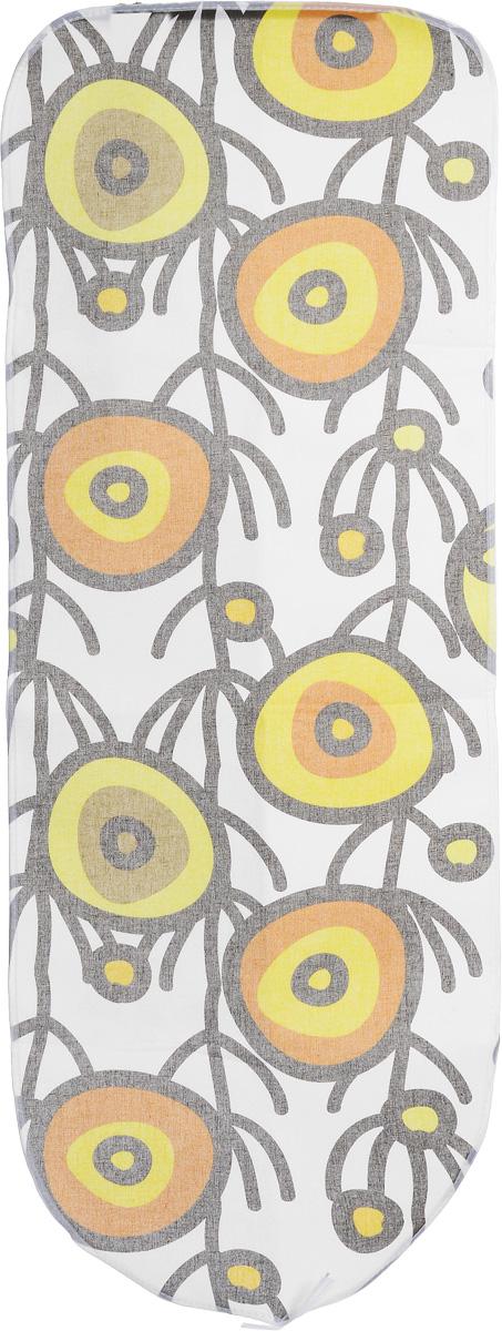 Чехол для гладильной доски Arix Basic, цвет: белый, желтый, коричневый 125 х 47 смAR180_белый/салатовый/оранжевый/ черныйЧехол Arix Basic предназначен для гладильной доски. Он выполнен из 100% хлопка и оснащен поролоновой подкладкой, хорошо выдерживает высокие температуры утюга и пара. Изделие снабжено шнуром, при помощи которого вы легко отрегулируете оптимальное натяжение и зафиксируете его на рабочей поверхности. Чехол не желтеет и не линяет. Размер чехла: 125 см x 47 см. Максимальный размер доски: 117 см х 39 см.
