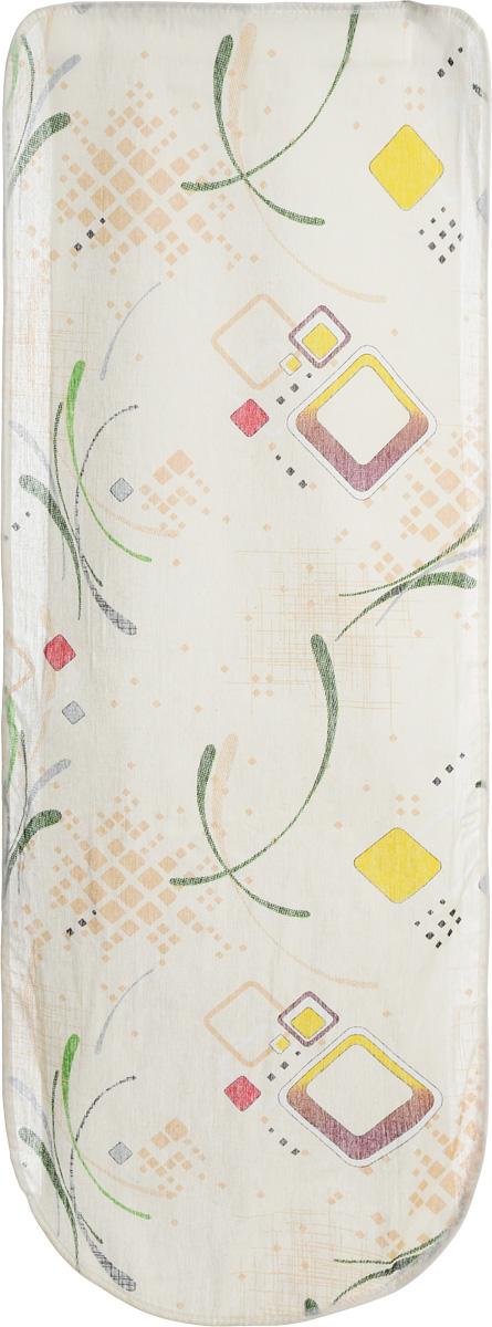 Чехол для гладильной доски Eva Желтый квадрат, 125 х 47 смЕ13_бежевый, желтый, квадратЧехол для гладильной доски Eva, выполненный из хлопка и поролона, предназначен для защиты или замены изношенного покрытия гладильной доски. Чехол оформлен геометрическим узором. Чехол снабжен стягивающим шнуром, при помощи которого вы легко отрегулируете оптимальное натяжение чехла и зафиксируете его на рабочей поверхности гладильной доски. Этот качественный чехол обеспечит вам легкое глажение. Он предотвратит образование блеска и отпечатков металлической сетки гладильной доски на одежде. Размер чехла: 125 x 47 см. Максимальный размер доски: 116 х 40 см.