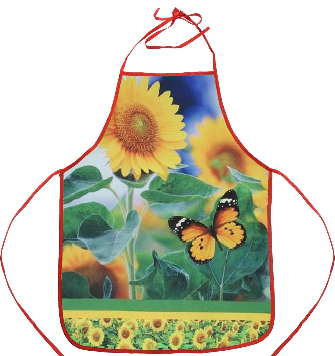 Фартук Bonita Кубанское солнце, 55 х 73 см1101211746Фартук Bonita Кубанское солнце изготовлен из прочного полиэстера и декорирован красивым изображением подсолнухов и бабочки, которое понравится любой хозяйке. Фартук оснащен завязками. Имеет универсальный размер. Такой фартук поможет вам избежать попадания еды на одежду во время приготовления пищи. Кухня - это сердце дома, где вся семья собирается вместе. Она бережно хранит и поддерживает жизнь домашнего очага, который нас согревает. Именно поэтому так важно создать здесь атмосферу, которая не только возбудит аппетит, но и наполнит жизненной энергией. С текстилем Bonita открывается возможность не только каждый день дарить кухне новый облик, но и создавать настоящие кулинарные шедевры. Bonita станет незаменимым помощником и идейным вдохновителем, создающим вкусное настроение на вашей кухне.