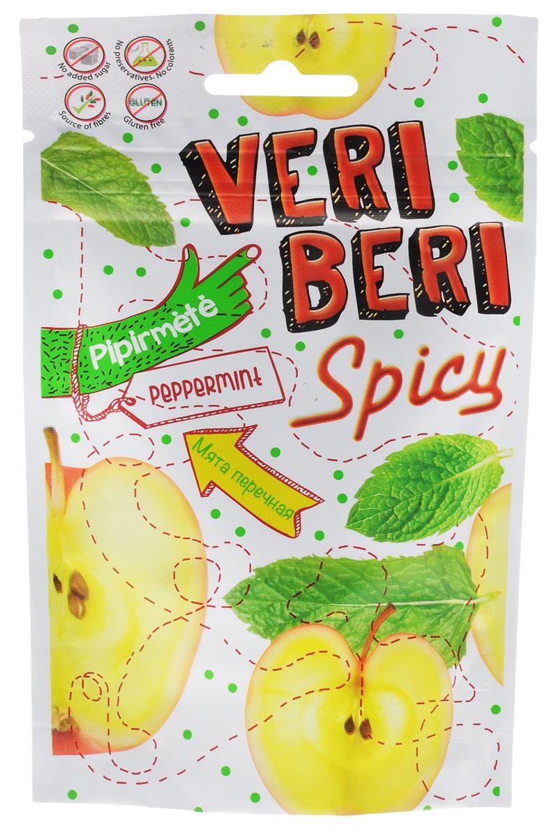 Veri Beri Фруктовые полоски с мятой, 50 г4779033190229Фруктовые полоски Veri Beri, сделанные только из натуральных фруктов. Без сахара, без консервантов, без красителей. Сладость продукта достигается только за счёт использования только натуральных сахаров, содержащихся в фруктовом соке и пюре. Содержит много клетчатки, что положительно влияет на пищеварительную систему. Используемые ингредиенты: фруктовый сок и концентрат пюре, фруктовый пектин, фруктовые волокна, натуральные фруктовые ароматизаторы.
