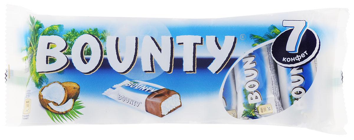 Bounty Мультипак 7 батончиков, 192,5 г79007016Bounty - это нежнейшая мякоть кокоса, покрытая молочным шоколадом, изготовленным из отборных ингредиентов. Съешь Bounty и представь, что находишься на тропическом острове, забудь заботы и тревоги, получи райское наслаждение.