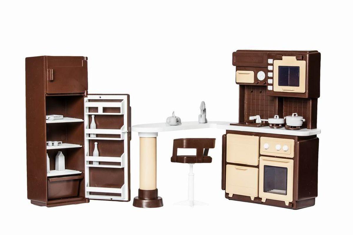 Огонек Набор мебели для кукол Коллекция для кухниОГ1298Набор мебели для кухни Коллекция - это набор мебели для кукольного домика от завода Огонек. В него входит стильный шкаф с необходимой техникой, раковиной, барной стойкой и холодильник. В набор так же входит комплект посуды и миниатюрные игрушки-продукты. Любой ребенок обрадуется миниатюрным сковородкам, чашечкам, пачкам с молоком и многому другому!