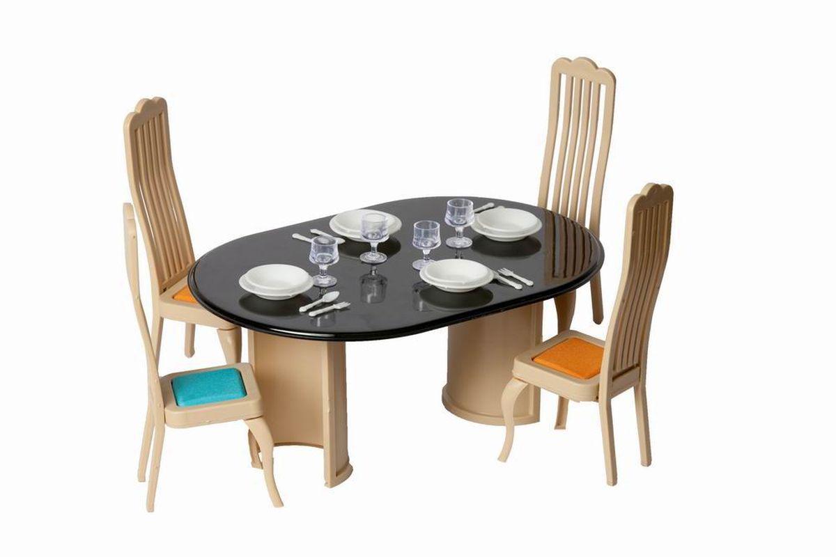 Огонек Набор мебели для кукол Коллекция для столовойОГ1300Набор мебели для столовой Коллекция - очень красивый и стильный набор мебели и посуды для кукол. С таким набором мебели кухня вашей любимой куклы будет самой уютной и красивой. В наборе есть все необходимое. В набор входит: стол, четыре стула набор посуды на 4 персоны. В набор посуды входят: Бокалы - 4 шт., Тарелки глубокие - 4 шт., Тарелки мелкие - 4 шт., Ложки - 4 шт., Вилки - 4 шт.