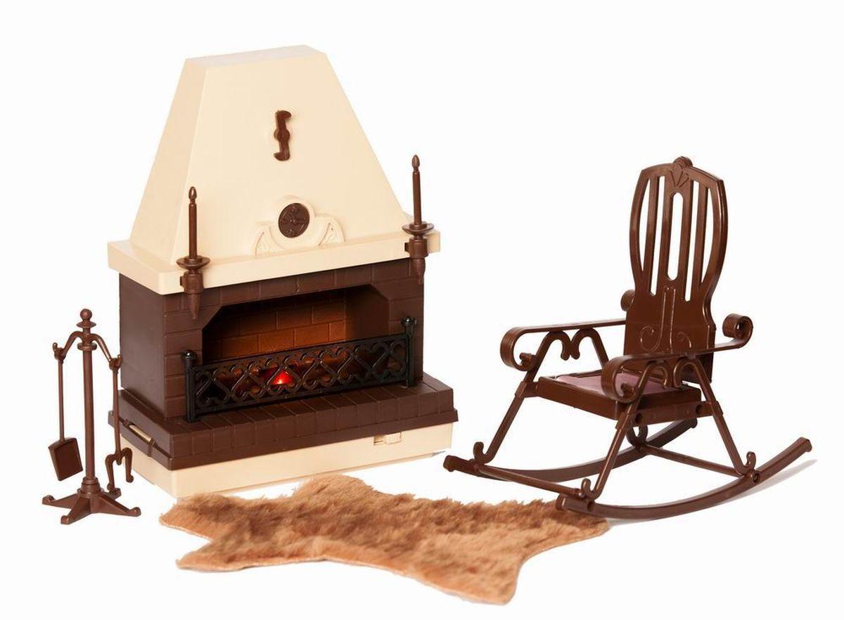 Огонек Набор мебели для кукол Коллекция для каминной комнатыОГ1301Набор мебели для кукольной каминной комнаты Коллекция от завода Огонек. В него входит: камин, кресло-качалка, подставка для каминных принадлежностей ковер в виде меховой шкуры. Для имитации пламени в камине установлена лампа, которая работает от элемента питания 3336. Красивая игрушка помогает ребенку развить свою фантазию, воспитывает художественный вкус.