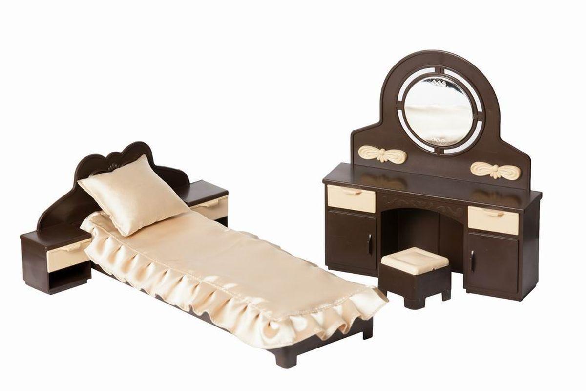 Огонек Набор мебели для кукол Коллекция для спальниОГ1303Набор мебели для спальни куклы Коллекция от завода Огонек - стильный и яркий набор кукольной мебели. Она станет прекрасным украшением кукольного домика. Миниатюрная кровать выглядит как настоящая. Две прикроватные тумбы с выдвижными ящиками, трюмо и пуфик к нему.
