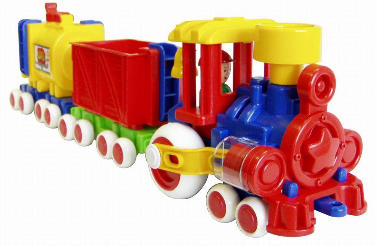 Форма Паровозик Ромашка с 2 вагонами Детский садС-119-ФИгрушка паровозик Ромашка с 2 вагонами - это яркая игрушка для малышай. Сделано из прочной и безопасной пластмассы. Вагончики отцепляются друг от друга, поршни двигаются, человечек-машинист вытаскивается.
