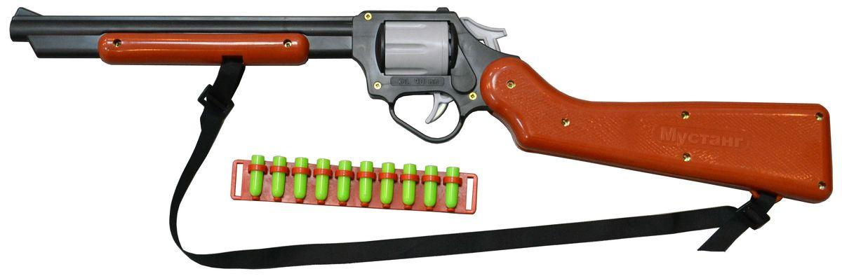 Форма Винтовка ковбойская МустангС-139-ФВинтовка ковбойская Мустанг - это детское игровое оружие, которое очень понравится юному стрелку. Особенности: Заряжается 5 патронами, стреляет на расстояние 7м достаточно прицельно, наилучшим образом подходит для игры в солдатики, прекрасно разрушает крепости из деревянных кубиков. Безопасна. В комплект входит патронташ с 10 патронами, ремешок для ношения через плечо.