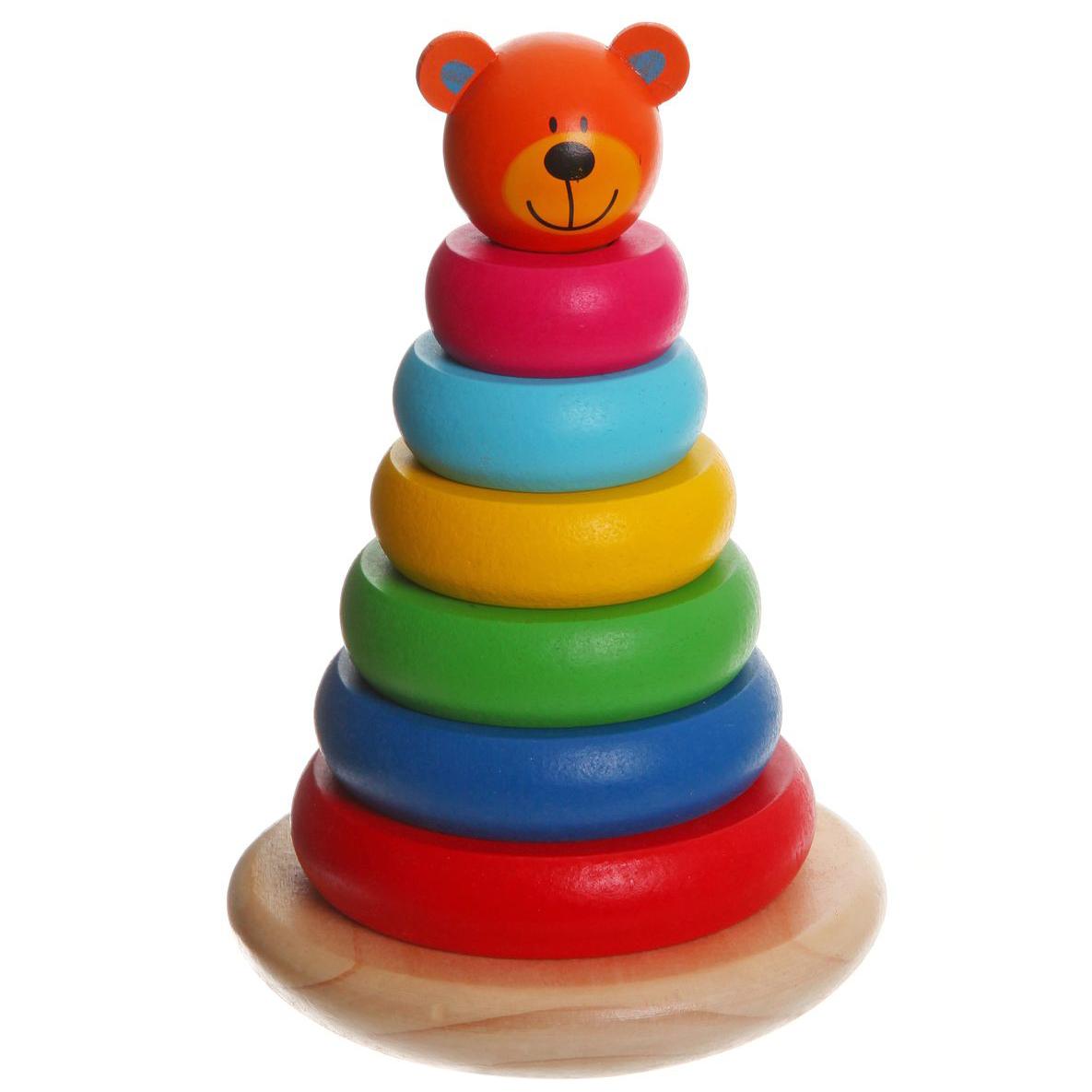 Bondibon Пирамидка МедвежонокВВ1103Мудрые родители выбирают для своих малышей игрушки, которые обучают малыша в процессе увлекательной игры, формируют его внутренний мир и не вредят здоровью. Деревянные развивающие игрушки, детали которых сделаны из различных пород дерева – клена, можжевельника, березы – это не просто яркий предмет, способный надолго увлечь ребенка, но и его первый учитель, рассказывающий о мире на интуитивно понятном крохе языке.