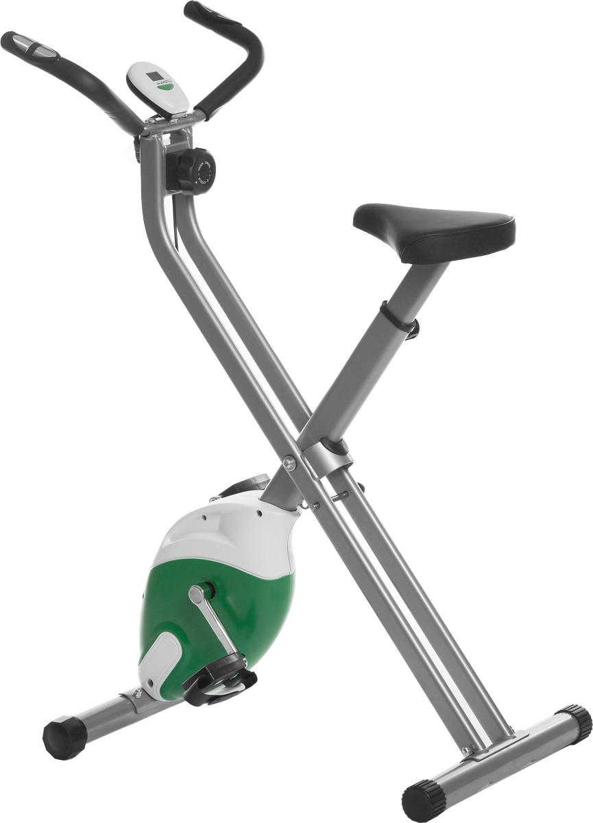 Велотренажер Ironmaster IREB0911MIREB0911MВелотренажер Ironmaster предназначен для пользователей начального и среднего уровней подготовки для домашних тренировок. Изделие предполагает магнитную нагрузку. Плавность хода обеспечивается маховиком, движущимся в поле постоянных магнитов. Сиденье можно отрегулировать по высоте для максимального комфорта, а на педали установлены ремни, необходимые для фиксации ног в правильном положении. Изделие имеет специальную консоль, на которой можно выбрать один из шести режимов работы: время, скорость, дистанция, калории, одометр, пульс. На дисплее отображаются необходимые показатели. Датчик пульса позволит измерить пульс. Для этого положите ладони на контактные площадки пульсометра, расположенные на руле, и подождите 30 секунд. Модель разработана для установки дома, она обладает компактными габаритами и не занимает много места. Для компактного хранения и транспортировки тренажер складывается.