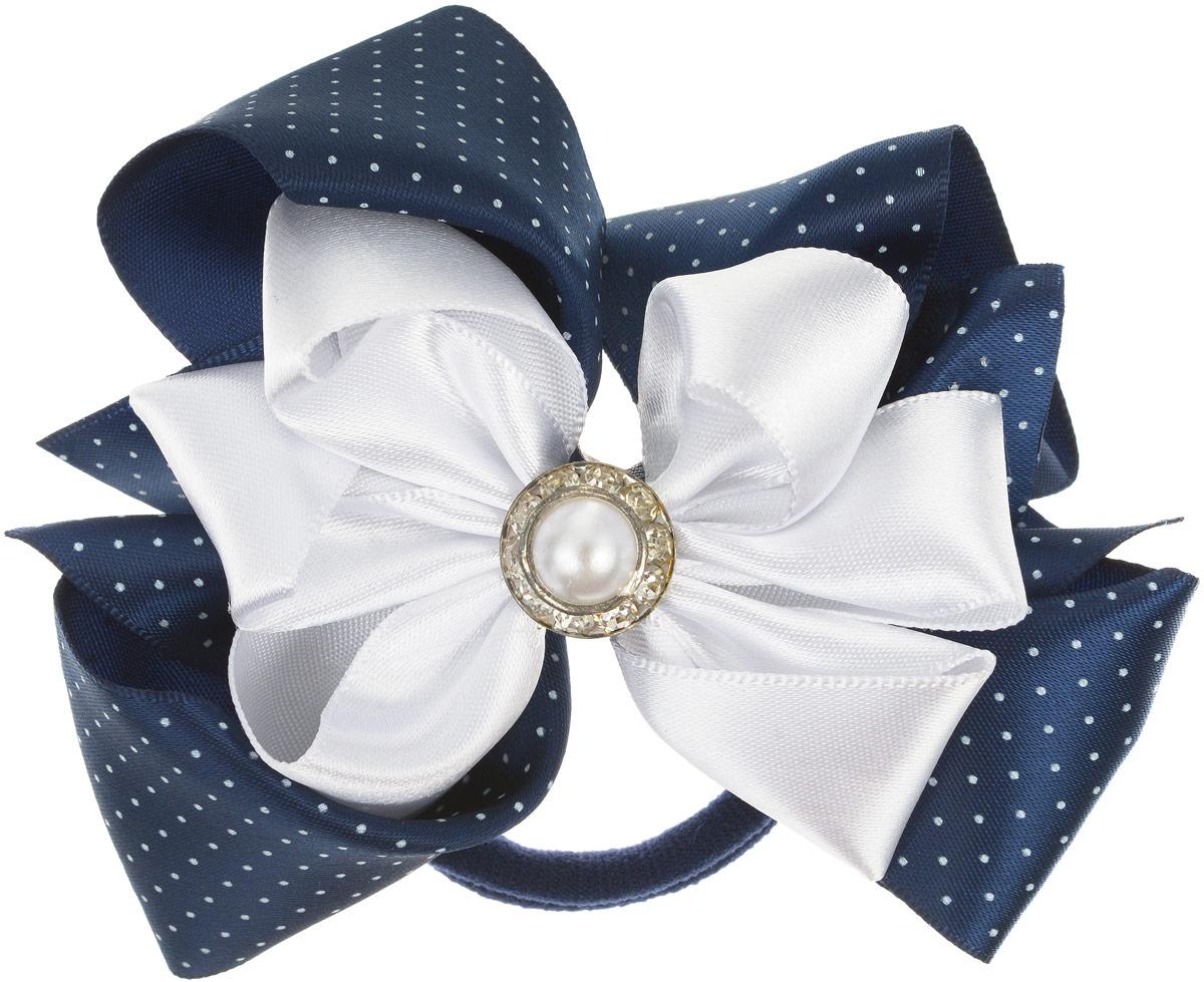 Babys Joy Резинка для волос Бант цвет синий белыйK 19_синий, белый, горох