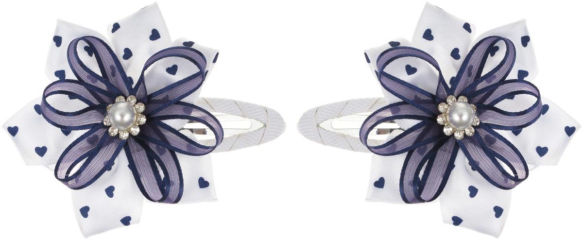 Babys Joy Заколка для волос Сердечки цвет белый 2 шт MN 14MN 14_белый, синий, сердечки