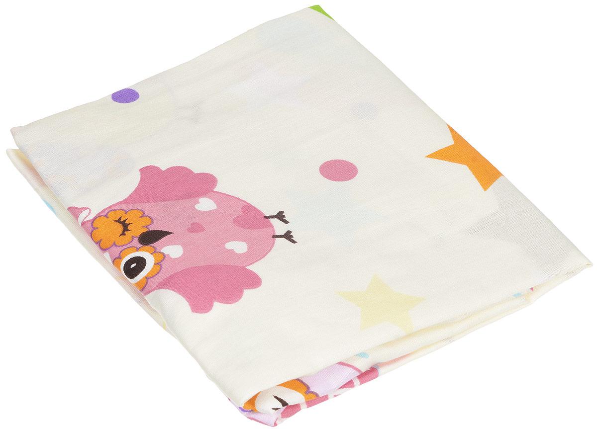 Bonne Fee Простыня детская Совы на резинке цвет бежевый 60 х 120 см