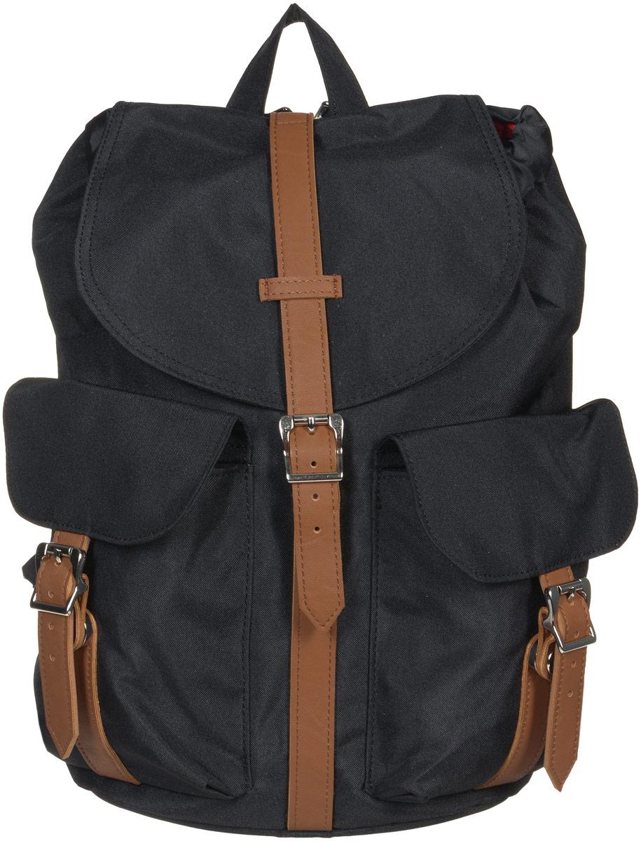 Рюкзак городской женский Herschel Dawson, цвет: черный, коричневый, 13 л. 10210-00797-OS10210-00797-OSСтильный женский городской рюкзак Herschel Dawson выполнен из плотного полиэстера и дополнен вставками из искусственной кожи. Изделие имеет одно основное отделение, которое закрывается на затягивающийся шнурок и дополнительно на клапан с ремешком на магнитной кнопке. Внутри расположен прорезной карман на застежке-молнии. Снаружи, на передней стенке находятся два накладных кармана, закрывающиеся на клапаны с ремешками на магнитных кнопках. На задней стенке предусмотрен прорезной мягкий карман для планшета на застежке- молнии. Рюкзак оснащен регулирующими лямками и удобной ручкой для переноски в руках. Стильный рюкзак идеально дополнит ваш образ.