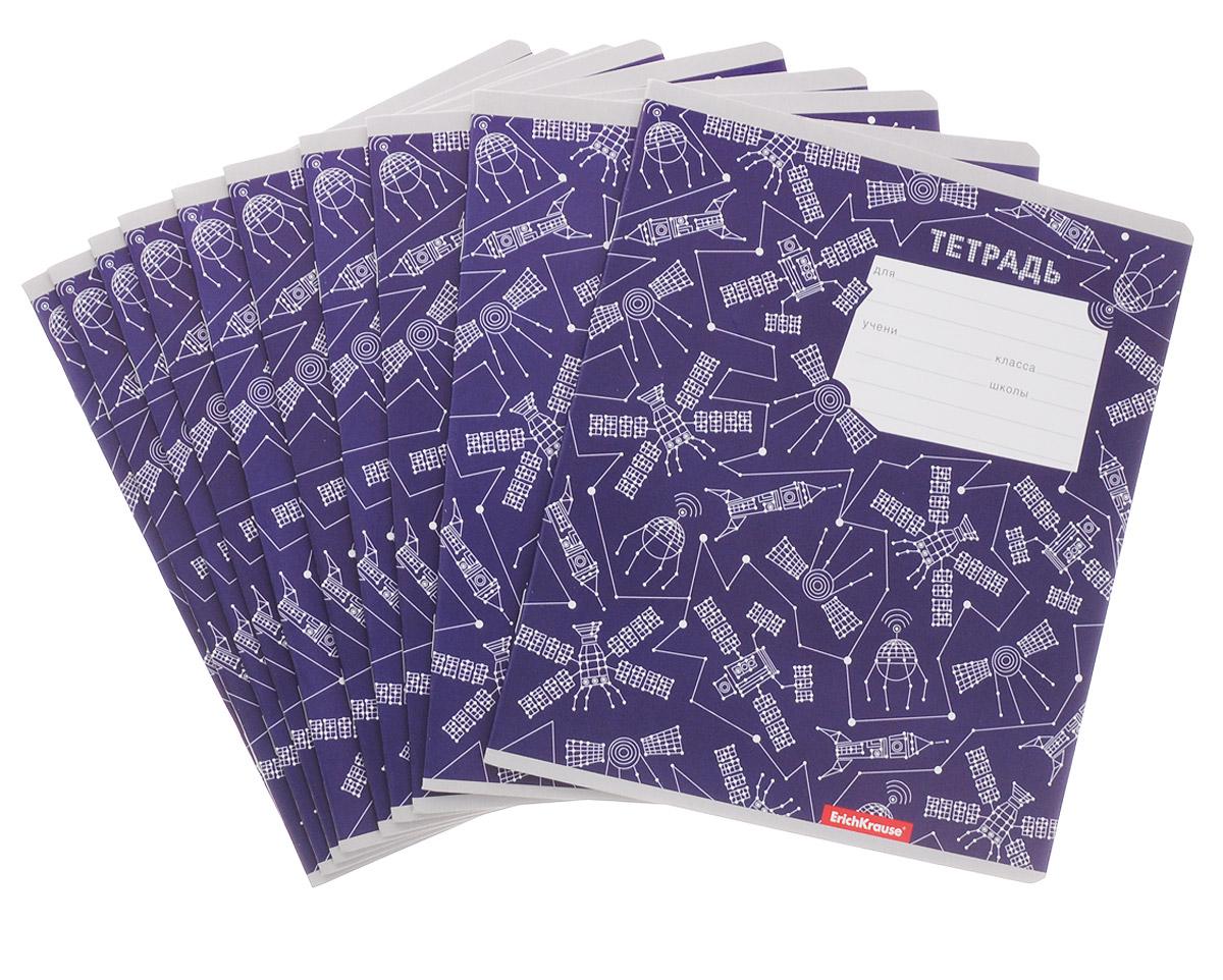 Erich Krause Набор тетрадей Космические рейсы 18 листов в линейку цвет фиолетовый 10 шт39961_фиолетовыйКомплект тетрадей Erich Krause включает в себя 10 тетрадей с закругленными углами. Обложка каждой тетради изготовлена из картона. На задней стороне обложки тетради представлены русский и английский алфавиты. Внутренний блок состоит из 18 листов белой бумаги, соединенных скрепками. Стандартная линовка в голубую линейку дополнена полями.
