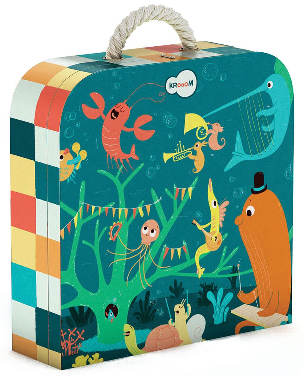 Krooom Пазл для малышей Морские животныеk-601Красочный пазл Krooom Морские животные - наилучшее решение для развития вашего малыша. Собирая картинку из 45 элементов, малыш учится соотносить отдельные элементы в целое изображение, подбирать фрагменты по цвету и форме. Морская филармония с гордостью представляет новую группу 15 друзей Оушэна. Осьминог играет на барабанах, акула на органе, рыба-ёж на флейте, морская звезда и золотая рыбка на маракасах, а медуза стучит по бубну. За ударными сидят черепаха и улитка, дуэт морских коньков играет на духовых, барракуда на банджо, рыба-меч перебирает струны арфы, кит сидит за ксилофоном. За вокал же отвечают омар и сардина. Пазл поможет развить у малыша мелкую моторику рук, цветовосприятие, воображение и логическое мышление, научит видеть большое в малом. Вознаграждением за усердие будет красивая картинка.
