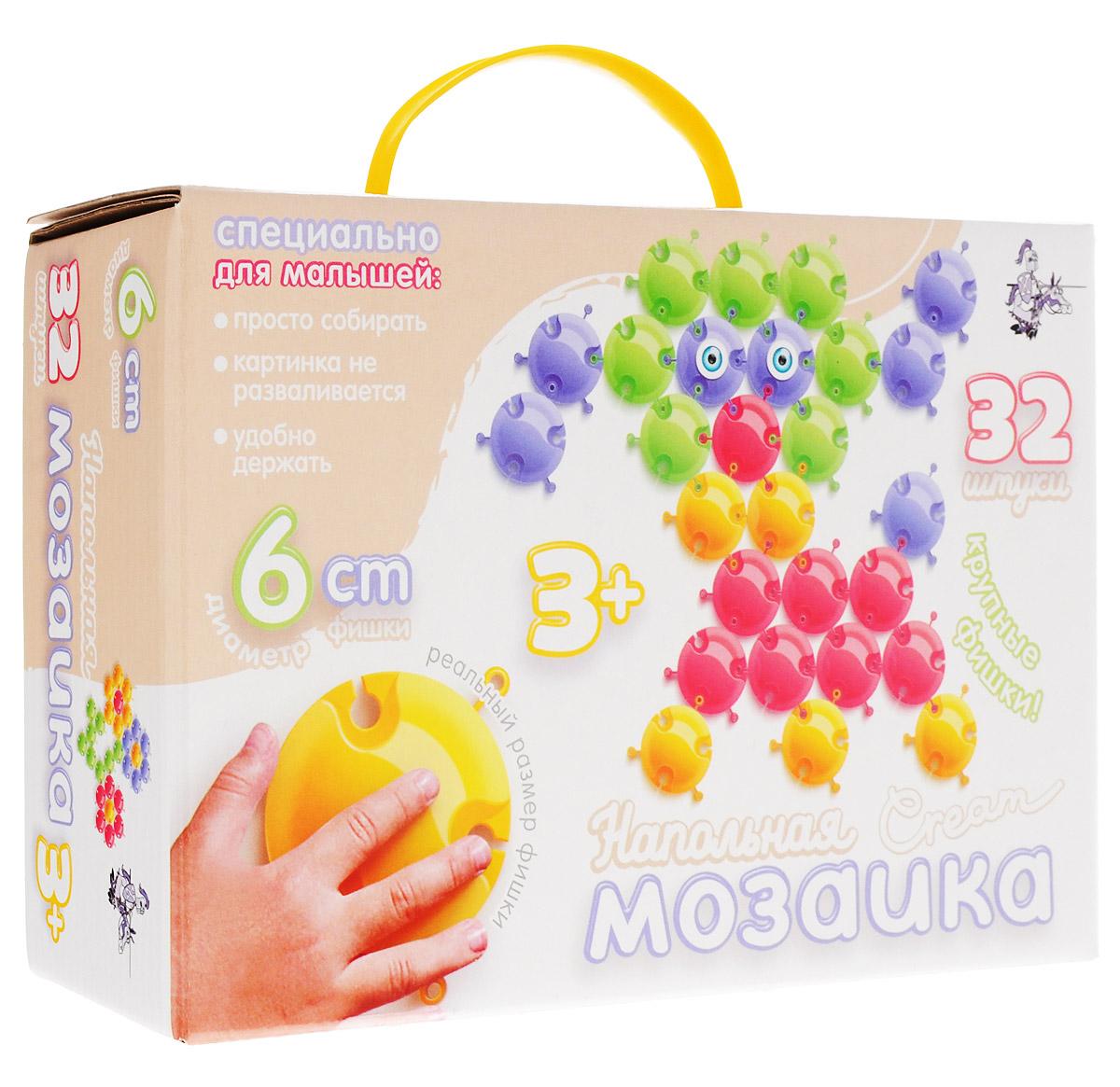 Десятое королевство Мозаика напольная Cream 15401540Напольная мозаика Десятое королевство Cream - увлекательная развивающая игра для самых маленьких! Она развивает у ребёнка творческие способности, воображение, мелкую моторику рук, воображение, координацию движений. Эта мозаика открывает перед малышом неограниченные возможности создания собственных композиций. Конструкция мозаики позволяет с лёгкостью скреплять и фиксировать детали, которые состоят из высококачественных материалов, абсолютно безопасных для здоровья ребёнка. В комплект входят 32 фишки четырех цветов диаметром 6 см. Цвета элементов неяркие, так как многие детские врачи и психологи считают, что в детских игрушках надо избегать ярких, кричащих цветов. Напольная мозаика Десятое королевство Cream позволяет малышу с легкостью создавать очаровательные картинки нежнейших пастельных оттенков. При этом замки на элементах сделаны так, что легко соединяя их между собой, достаточно прочно скрепляют изображение целиком, позволяя его двигать и приподнимать, а...