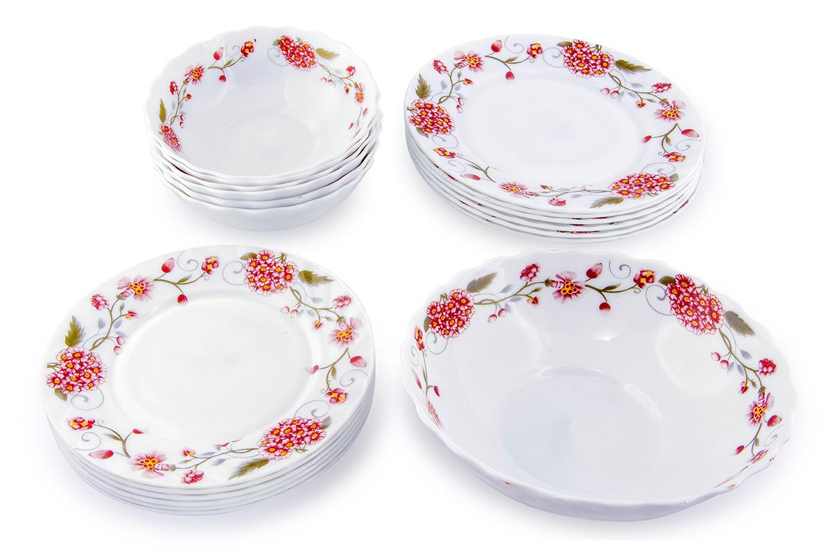Набор столовой посуды Rosenberg 19 предметов. 1240-64177.858@22837набор столовой посуды, 19 предметов: суповая тарелка, 18см (6шт); плоская тарелка 20см (6шт); плоская тарелка 25см (6шт); салатник 23см (1шт). Ударопрочное стекло.