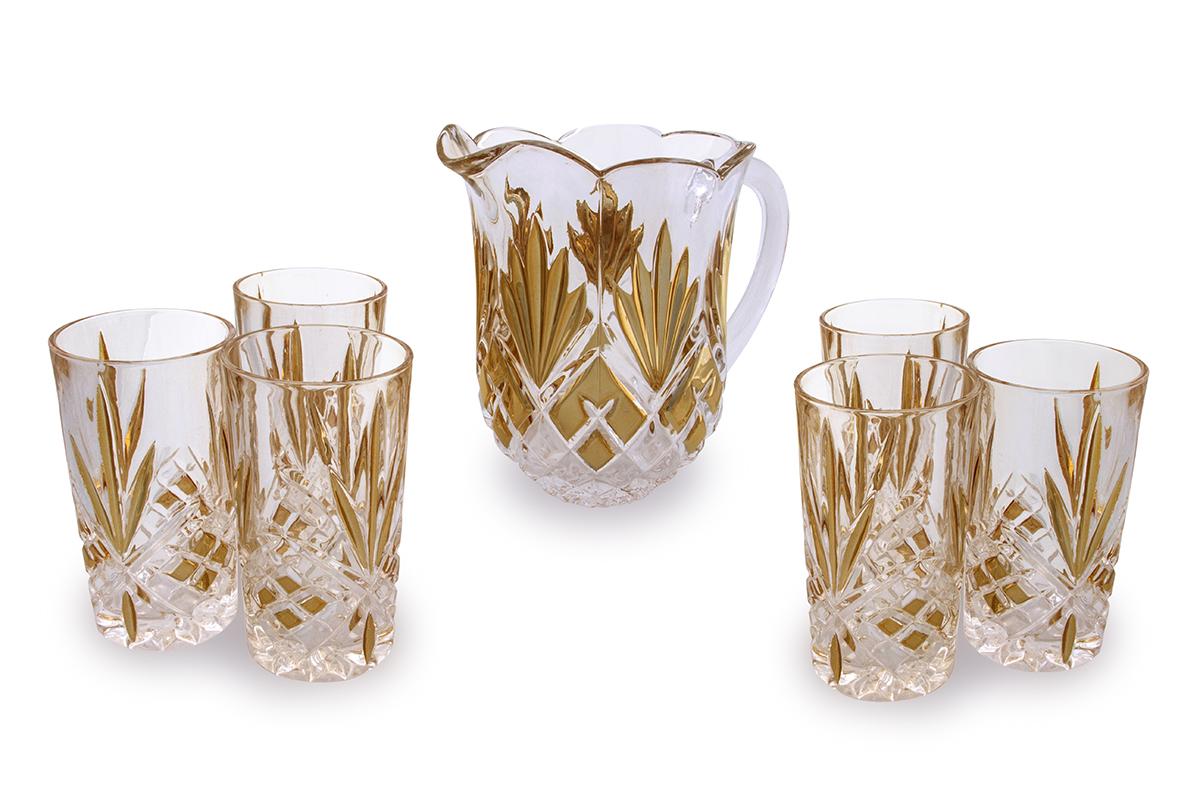 Набор для сока Rosenberg: кувшин + 6 стаканов. 142177.858@23186Набор для сока: кувшин + 6 стаканов Материал: стекло под хрусталь Размер кувшина: диаметр14.5 см,высота: 19.5 см, 1500 мл Размер стакана: 7.5 х 7.5 х 14 см, 250мл