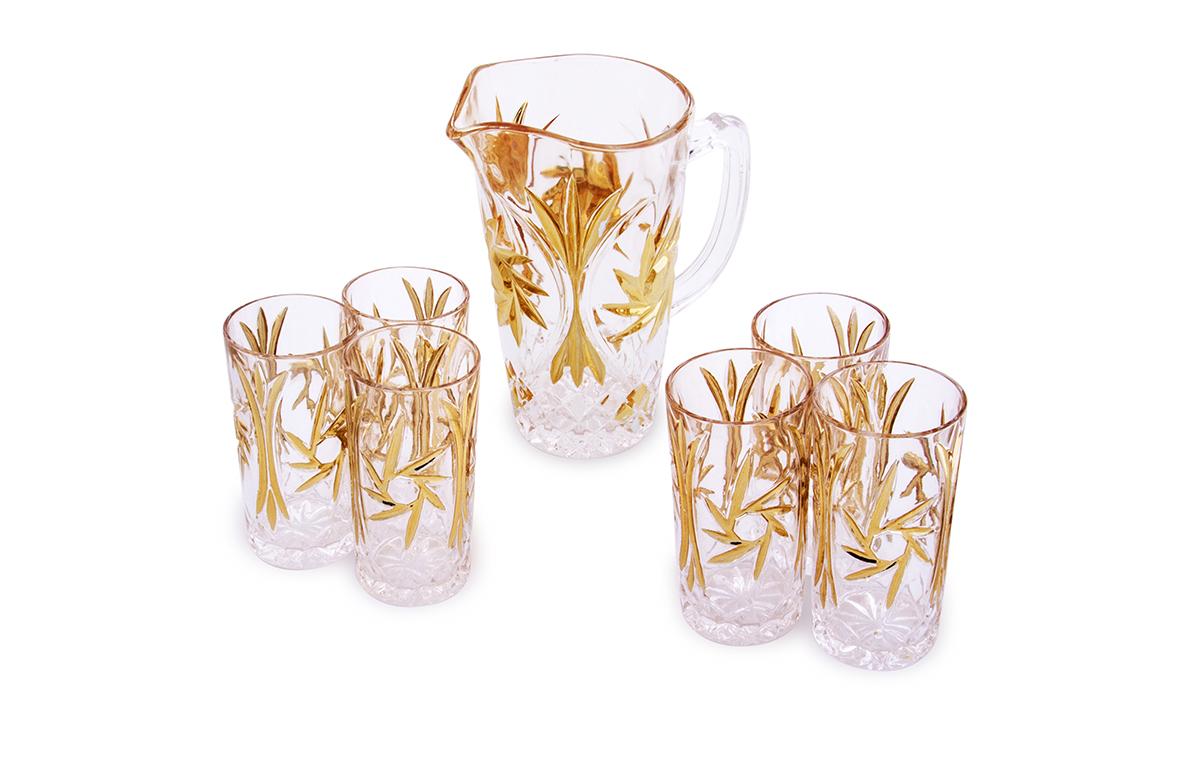 Набор для сока Rosenberg: кувшин + 6 стаканов. 142277.858@23189Набор для сока: кувшин + 6 стаканов Материал: стекло под хрусталь Размер кувшина: диаметр 12.0 см, высота 23.5 см, 1200 мл Размер стакана 7 Х 7 Х 14 см, 250 мл