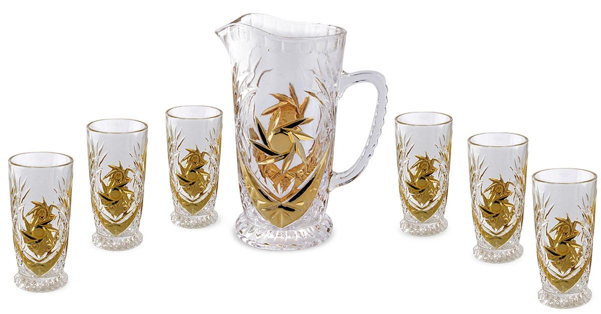 Набор для сока Rosenberg: кувшин + 6 стаканов. 142377.858@23190Набор для сока: кувшин + 6 стаканов Материал: стекло под хрусталь Размер кувшина: диаметр 13.5 см высота: 23.5 см, 1200 мл Размер стакана 7 х 7 х 15см,250 мл