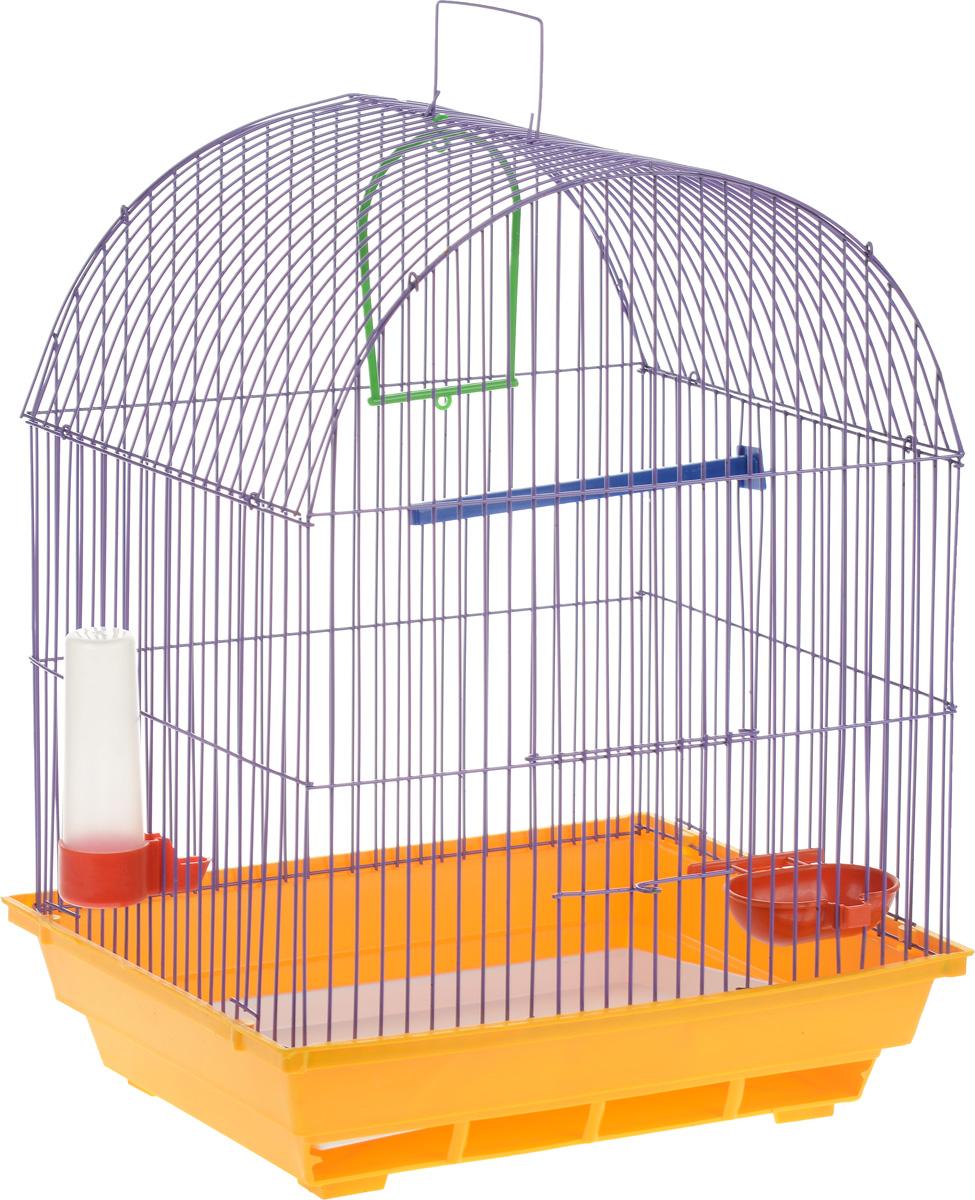 Клетка для птиц ЗооМарк, цвет: желтый поддон, фиолетовая решетка, 35 х 28 х 45 см440_желтый, фиолетовыйКлетка ЗооМарк, выполненная из полипропилена и металла, предназначена для мелких птиц. Вы можете поселить в нее одну или две птицы. Изделие состоит из большого поддона и решетки. Клетка снабжена металлической дверцей, которая открывается и закрывается движением вверх-вниз. В основании клетки находится малый поддон. Клетка удобна в использовании и легко чистится. Она оснащена жердочкой, кольцом для птицы, кормушкой, поилкой и подвижной ручкой для удобной переноски. Комплектация: - клетка с поддоном, - малый поддон; - кормушка; - поилка; - кольцо. Размер клетки: 35см х 28см х 45см. Уважаемые клиенты! Обращаем ваше внимание на возможные изменения в цвете некоторых деталей товара. Поставка осуществляется в зависимости от наличия на складе.