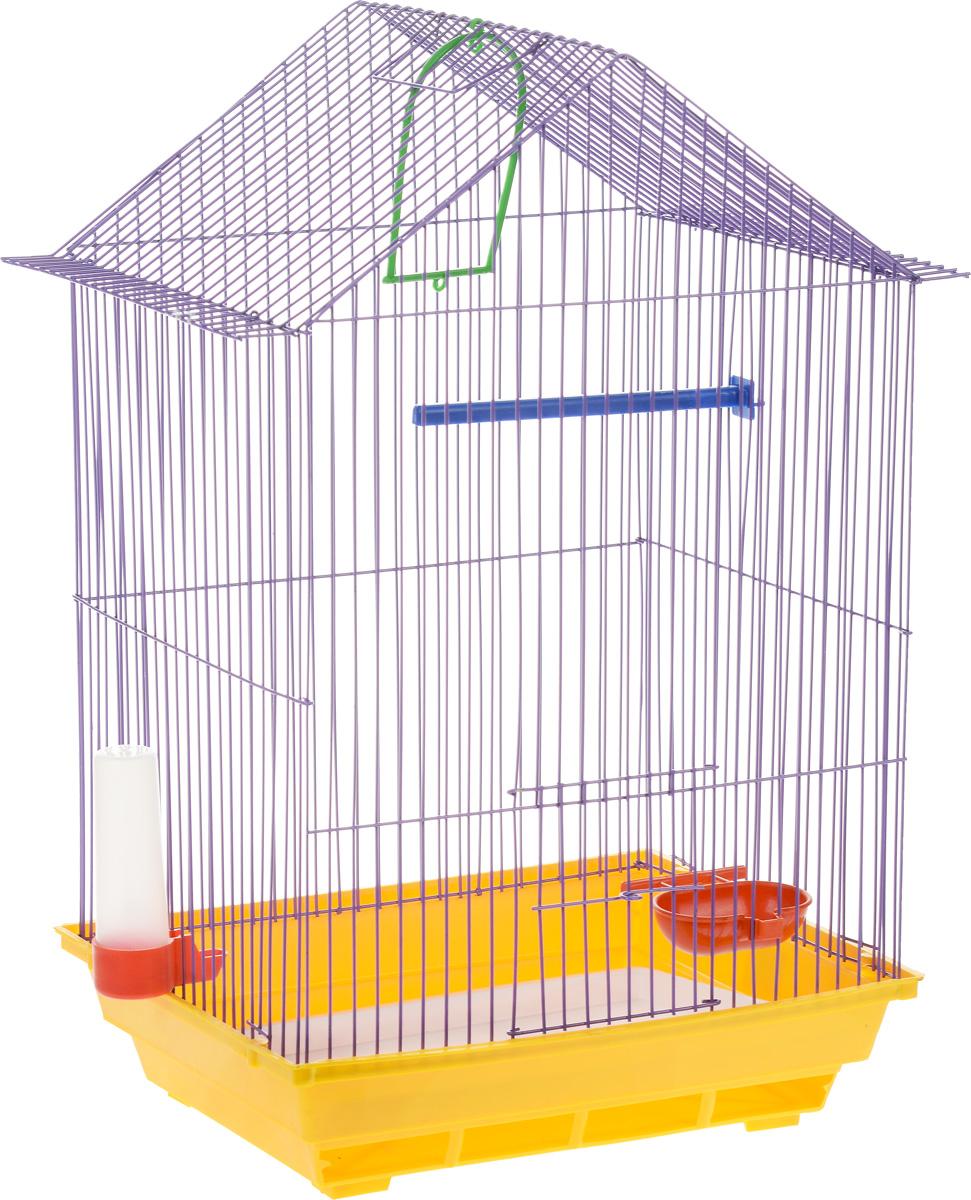 Клетка для птиц ЗооМарк, цвет: желтый поддон, фиолетовая решетка, 34 x 28 х 54 см430_желтый/фиолетовыйКлетка ЗооМарк, выполненная из полипропилена и металла с эмалированным покрытием, предназначена для мелких птиц. Изделие состоит из большого поддона и решетки. Клетка снабжена металлической дверцей. В основании клетки находится малый поддон. Клетка удобна в использовании и легко чистится. Она оснащена жердочкой, кольцом для птицы, поилкой, кормушкой и подвижной ручкой для удобной переноски. Комплектация: - клетка с поддоном, - малый поддон; - поилка; - кормушка; - кольцо. Размер клетки: 34 см x 28 см х 54 см.
